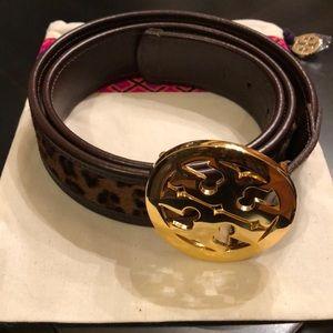 Tory Burch calf hair/leather leopard belt.